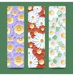 Bookmark set with blooming flower bouquetes vector