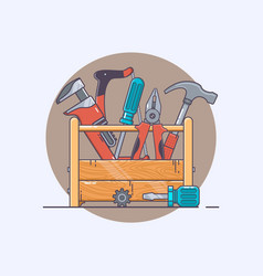 box with tools pliers and hammer screwdriver and vector image