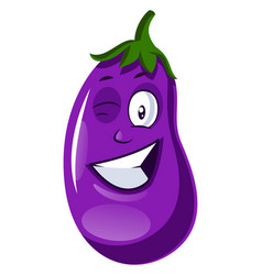 Brinjal winking on white background vector
