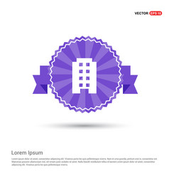 building icon - purple ribbon banner vector image