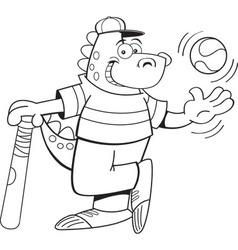 Cartoon dinosaur with a baseball and bat vector