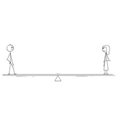 Cartoon of man and woman standing on balance scale vector