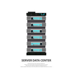 cartoon server data center icon in flat style vector image