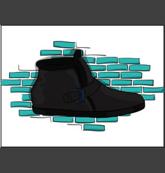 casual gray shoes on a blue brick wall background vector image
