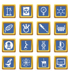 chemistry laboratory icons set blue square vector image