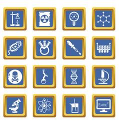 chemistry laboratory icons set blue square vector image