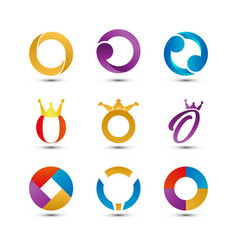 collection of abstract colorful letter o logo vector image