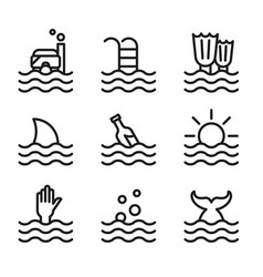 collection waves icons symbols vector image