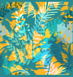 Colourful trendy seamless exotic pattern with palm vector