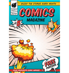 Comics poster design template vector