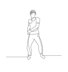 Continuous one line dancing man with wavy hair vector