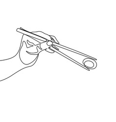 continuous one line hand holding chopstick to eat vector image