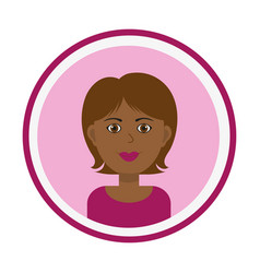 Cute black woman portrait on pink background vector