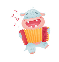 Cute hippo with accordion on vector