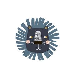cute vlue lion face cartoon vector image