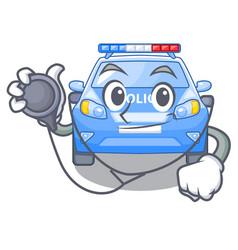 Doctor police car on a cartoon roadside vector