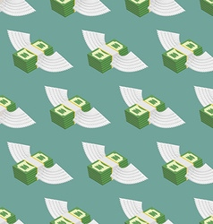 Dollars Cash with wings seamless pattern vector