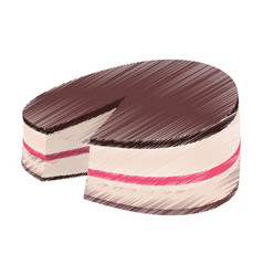 Drawing cake baked sweet vector