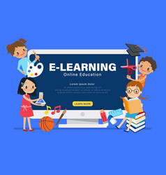 E-learning online education concept group of vector