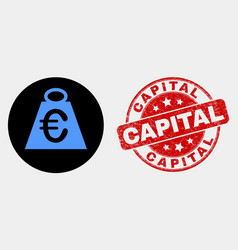 euro mass icon and scratched capital stamp vector image