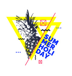Fashionable modern poster with pineapple summer vector