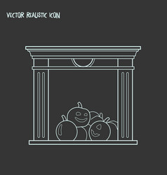 Fireplace icon line element vector