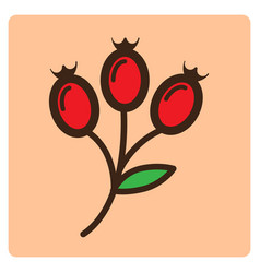 Flat color flower bud icon vector