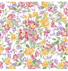 Floral white seamless pattern flower bouquet vector