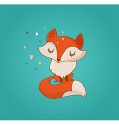 Fox cute lovely and greeting card vector