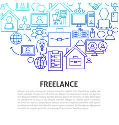 freelance line concept vector image