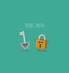Funny key and lock friends forever vector