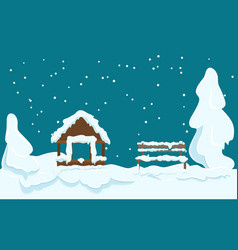 garden house and wooden bench covered with snow vector image