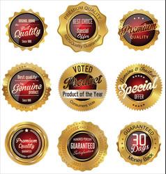 golden premium quality labels vector image