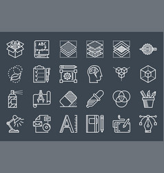 graphic design thin line related icons set vector image