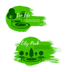 Green eco city park nature icons vector