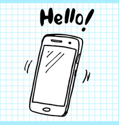 hand drawn smartphone smartphone icon design vector image