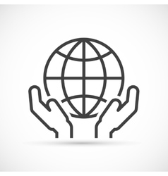 Hands holding globe icon vector