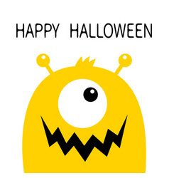 Happy halloween monster head yellow silhouette vector