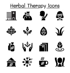 Herbal therapy spa icon set vector