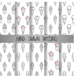 Ice cream pattern set 3 vector