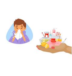 Influenza treatment concept and sick boy vector