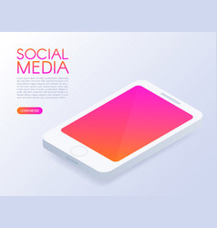 isometric phone mock up mobile phone social vector image