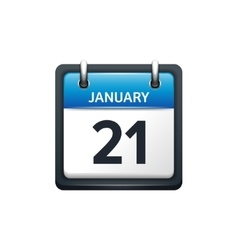 January 21 calendar icon flat vector