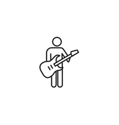 Line guitarist black icon on white background vector