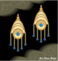 luxury art deco filigree chain earrings jewel vector image