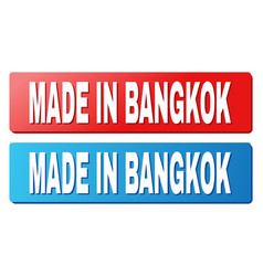 Made in bangkok caption on blue and red rectangle vector