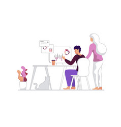 Man and woman discussion workflow home office vector