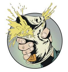 Man breaks tin can stock vector