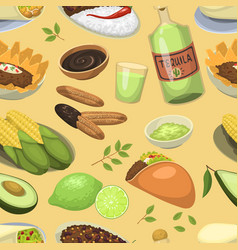 mexican traditional food meal plates lunch sauce vector image