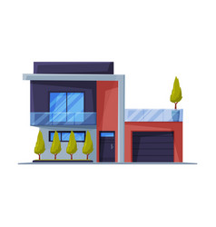 Modern small cottage facade residential house vector